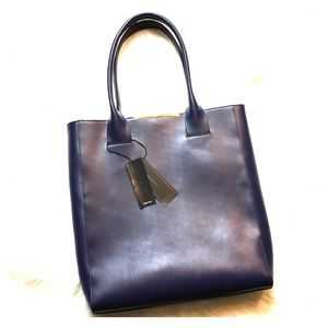 🆕 BCBGMAXAZRIA Dark Blue Leather Cleo Tote Bag
